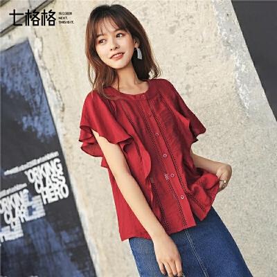 七格格雪纺衬衫女短袖2019新款夏装宽松显瘦设计感镂空荷叶边上衣