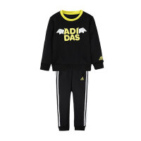 adidas阿迪达斯童服装男小童针织套装卡通加绒套服休闲运动服DX1764