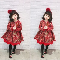 女童装秋冬连衣裙红色公主裙子儿童礼服裙加棉提花女童新年裙 现货