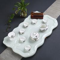天然玉石茶盘整套功夫茶具套装客厅家用简约石材茶道茶台长方形