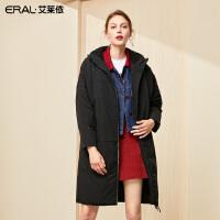 艾莱依2019冬季新款韩版不规则立领保暖羽绒服女中长款601801111