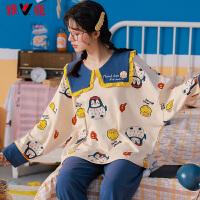 雅鹿睡衣女秋季新款纯棉长袖大方领宽松时尚家居服套装