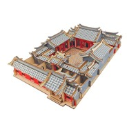 201905171757304453D木质立体拼图 DIY木制模型 手工创意生日礼物 咖啡小屋房子模型