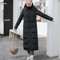 长款羽绒服女超长过膝显瘦加厚加长大码韩版修身白鸭绒外套 黑色 超长款 S (90-105斤)