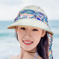 帽子女遮阳帽大沿沙滩太阳帽女士折叠凉帽夏天潮 MZ42米色 可调节
