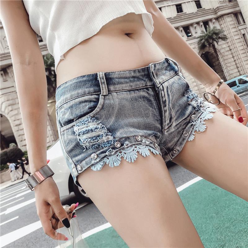 女装内衣抹胸2019新款超短裤主播三角齐女比冬外穿小短镂空性感紧身牛仔超低腰