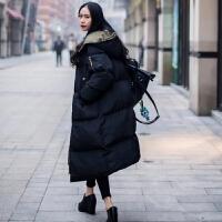 棉衣女中长款2018新款韩版棉袄bf宽松ins过膝学生面包服