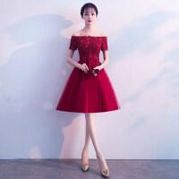 一字肩敬酒服新娘红色2018新款夏季结婚中长款显瘦晚礼服裙短款女