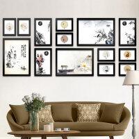 实木照片墙相框墙挂墙创意客厅中式水墨书房现代简约装饰画大尺寸
