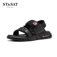 【领券减120】St&Sat/星期六2019夏季新款平跟露趾简约魔术贴凉鞋男SS92122441