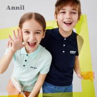 【2件3折价:72.6】安奈儿童装男女童针织衫短袖夏装2020新款洋气纯棉中大童棉线T恤