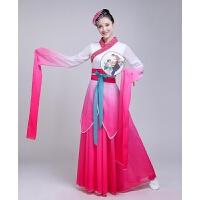 新款儿童古典舞水袖采薇舞蹈服装女中国风飘逸仙女惊鸿舞演出服 玫红色 长袖
