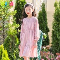 儿童连衣裙长袖中大童公主裙新款2018韩版秋装