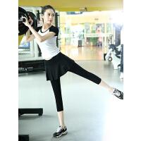 瑜伽服女套装舞蹈健身服女拉丁舞短袖七分裙裤跑步运动套装服装莫代尔