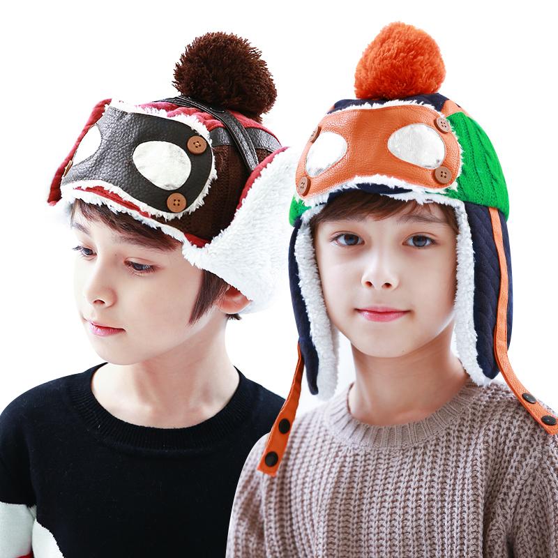 kk树宝宝帽子秋冬儿童帽子保暖护耳帽炫酷撞色加厚男童帽