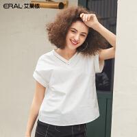 艾莱依2019夏季新款简约小众设计风衬衫V领时尚上衣女601824060