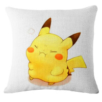 夏季品时尚简约麻抱枕pokemon口袋妖怪皮卡丘沙发套枕3d午睡抱枕 0g棉麻*不含芯