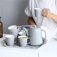 家用杯子套装陶瓷客厅水杯托盘水具欧式耐热茶壶茶杯冷凉水壶套装