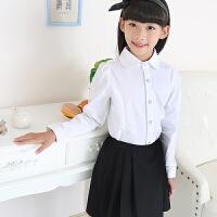 女童白衬衫长袖纯棉女孩白色衬衣中大童儿童装校服园服