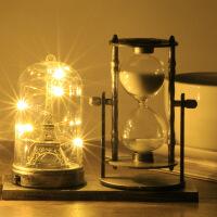 沙漏台灯 欧式巴黎埃菲尔铁塔发光小夜灯台灯摆件时间旋转沙漏计时器礼盒