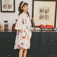 睡裙女夏季纯棉短袖韩版可爱外穿甜美简约时尚薄款睡衣春秋家居服 18614K