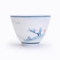 景德镇手绘青花山水陶瓷茶杯白瓷品茗杯功夫茶具杯普洱杯四个