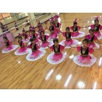 儿童维族舞蹈服装少儿新疆表演服装民族服装儿童新疆舞蹈服装 女 玫红色