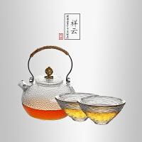 当当优品 祥云锤目纹茶具套装 光阴系列功夫茶具 1个提梁壶+2个斗笠品茗杯