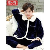 秋冬季儿童睡衣法兰绒中大童珊瑚绒加厚款家居服套装男孩