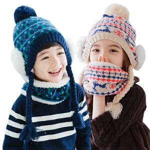 【1件9折 2件8折】kk树儿童帽子冬天男童女童加绒保暖套头帽小孩帽子2-4-8岁潮