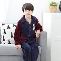男童睡衣冬季珊瑚绒中大童男孩子小孩秋冬款法兰绒儿童家居服