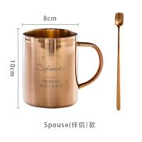 不锈钢镀铜马克杯复古大容量随手欧式双层简约咖啡杯子