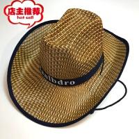 夏季防晒帽子礼帽牛仔帽草帽夏天男士大檐遮阳三根草遮阳帽