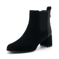 【领券减100】D:Fuse/迪芙斯绒面羊皮革水钻花粗跟短靴DF84116530 10黑色