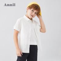 【活动价:109.5】安奈儿童装男童衬衫短袖翻领2020夏季新款中大童时尚条纹上衣薄款