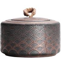 粗陶鎏金祥云复古中式茶叶罐子半斤装密封罐装茶带盖子中号办公室
