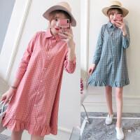 春装新款复古格子衬衫裙女中长款韩国学生宽松大码长袖连衣裙