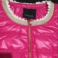 2019 珍珠圆领女短款羽绒服白鸭绒轻薄修身领口钉珠 S (荐85-98斤)