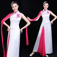 古典舞服装女飘逸2018新款复古中国风古筝表演服大合唱演出服成人