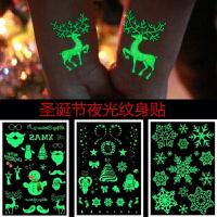 圣诞贴纸儿童 儿童圣诞节夜光纹身贴 可爱雪人雪花粘贴纸 安全脸部手小贴画