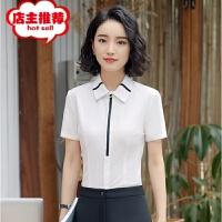 2019春夏韩版女士衬衫短袖导购收银员文员职业工作服衬衣女式批发
