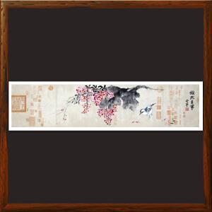 精品横幅花鸟画《怡然自乐》R5100   安宁全手绘真迹
