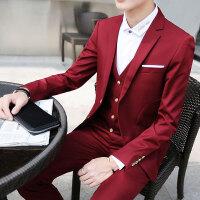 西服套装男士夏季修身韩版职业正装伴郎团新郎结婚礼服