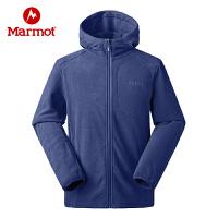 【书香节】Marmot/土拨鼠户外运动男士轻量保暖弹力开衫连帽抓绒衣