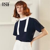 【过年3折价:70.4】OSA欧莎雪纺衫女2019夏季新款休闲短袖设计感小众上衣ins时尚潮