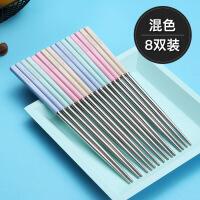 小麦304不锈钢筷子10双套装中式家用家庭装防滑防霉铁长金属快子
