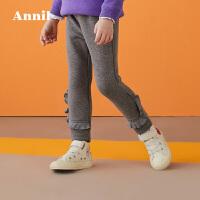 【2件45折:76.1】安奈儿童装女童毛绒打底夹裤加厚冬装新款TG946427