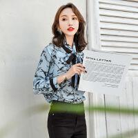 系带丝衬衫2019新款长袖印花修身显瘦衬衣蝴蝶结飘带上衣女 天蓝色