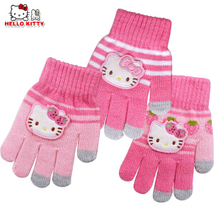 Hello Kitty凯蒂猫儿童手套冬款五指保暖手套分指五指针织手套