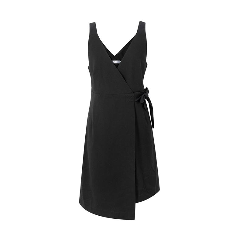 伊芙丽新款百搭V领中长款连衣裙吊带裙修身显瘦裙子女118A191501